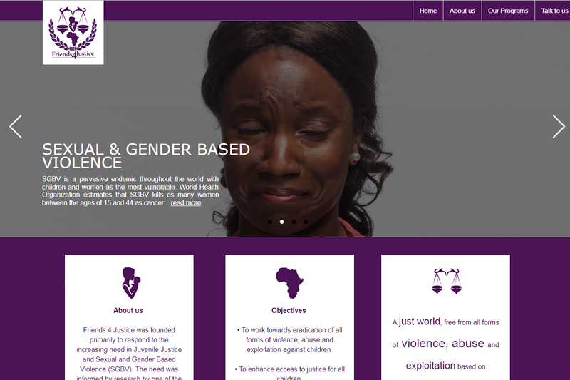 friens 4 justice website design